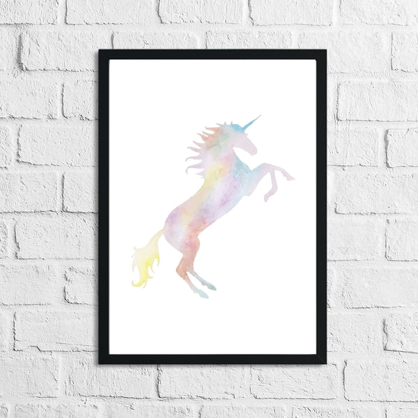 Unicorn Water Colour Children's Room Wall Bedroom Decor Print