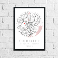 Couple Personalised Valentines Love Engagement Wedding Any Place Circle City Print Coordinates Wall Decor Print