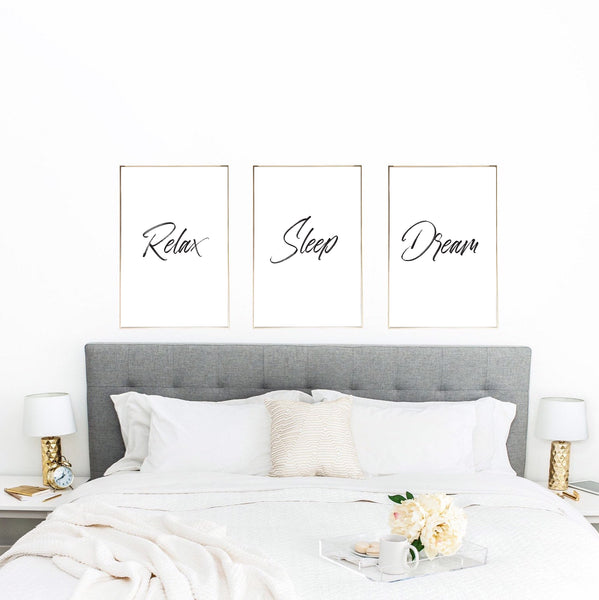 Relax Sleep Dream Set Of 3 Bedroom Decor Wall Prints