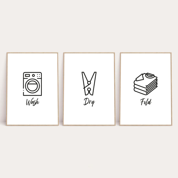Wash Dry Fold Laundry Room Set Of 3 Wall Decor Prints