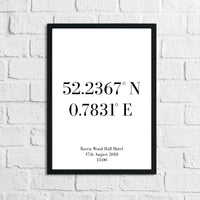 Personalised Wedding Coordinates Venue Simple Home Wall Decor Print