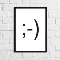 Winky Face Humorous Funny Bathroom Wall Decor Print