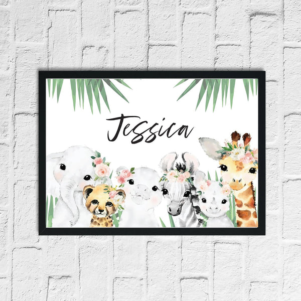 Personalised Wild Zoo Animals Children's Room Wall Decor Print