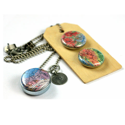 Vintage MAPS | Aromatherapy Locket Necklace