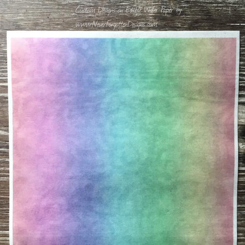 Edible Rainbow Swirl Design on Wafer Paper - Never Forgotten Designs
