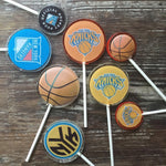 NY Knicks Basketball & Rangers Hockey Puck Lollipop Suckers Favors