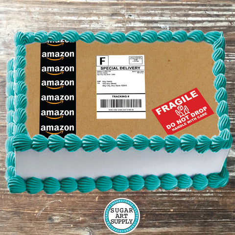 Design 10x16 Edible Amazon Package Label Cake Topper with Personalized Label