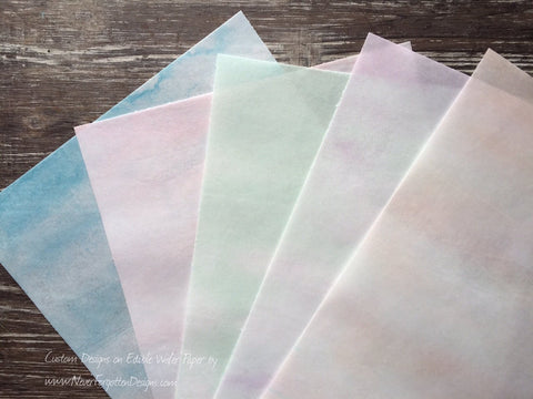 Edible Soft Watercolor Designs on Wafer Paper - Never Forgotten Designs