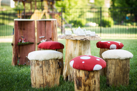 Real Tree Stump Toadstool Mushroom Stool Table and Chair Set Party - Never Forgotten Designs