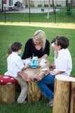 Tea Party with Mushroom Chairs and Real Wood Stump Table