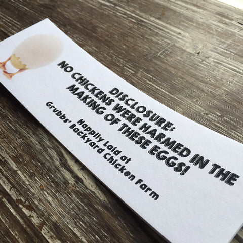 No Chickens Harmed Economic Printed Custom Egg Carton Labels Personalized with Your Information - Never Forgotten Designs