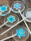 Frozen Lollipops with Sugar Snowflakes Encased in Hard Candy