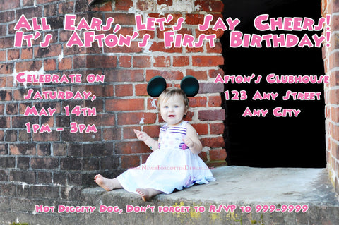Mouse Ears & Bow Birthday Photo Invitation Design - Never Forgotten Designs
