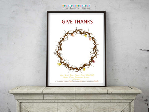 Personalized Thanksgiving Fingerprint Wreath Gift Design - Never Forgotten Designs