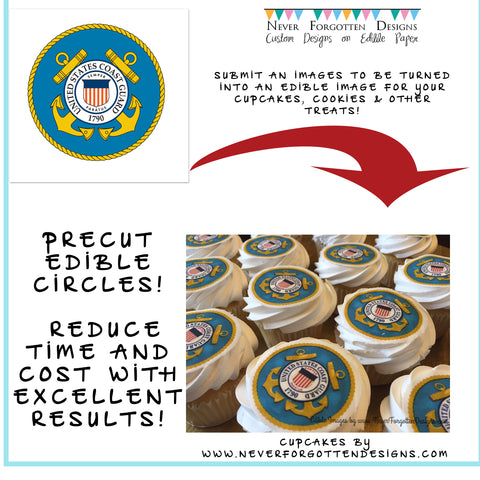 USCG Edible Image Cupcake Cookie Toppers