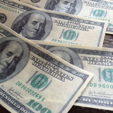 Edible Life Size Money $100 Bills on Wafer Paper Sheets - Never Forgotten Designs