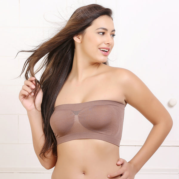 Ficuster Stretchable Bandeau Tube Brown Bra