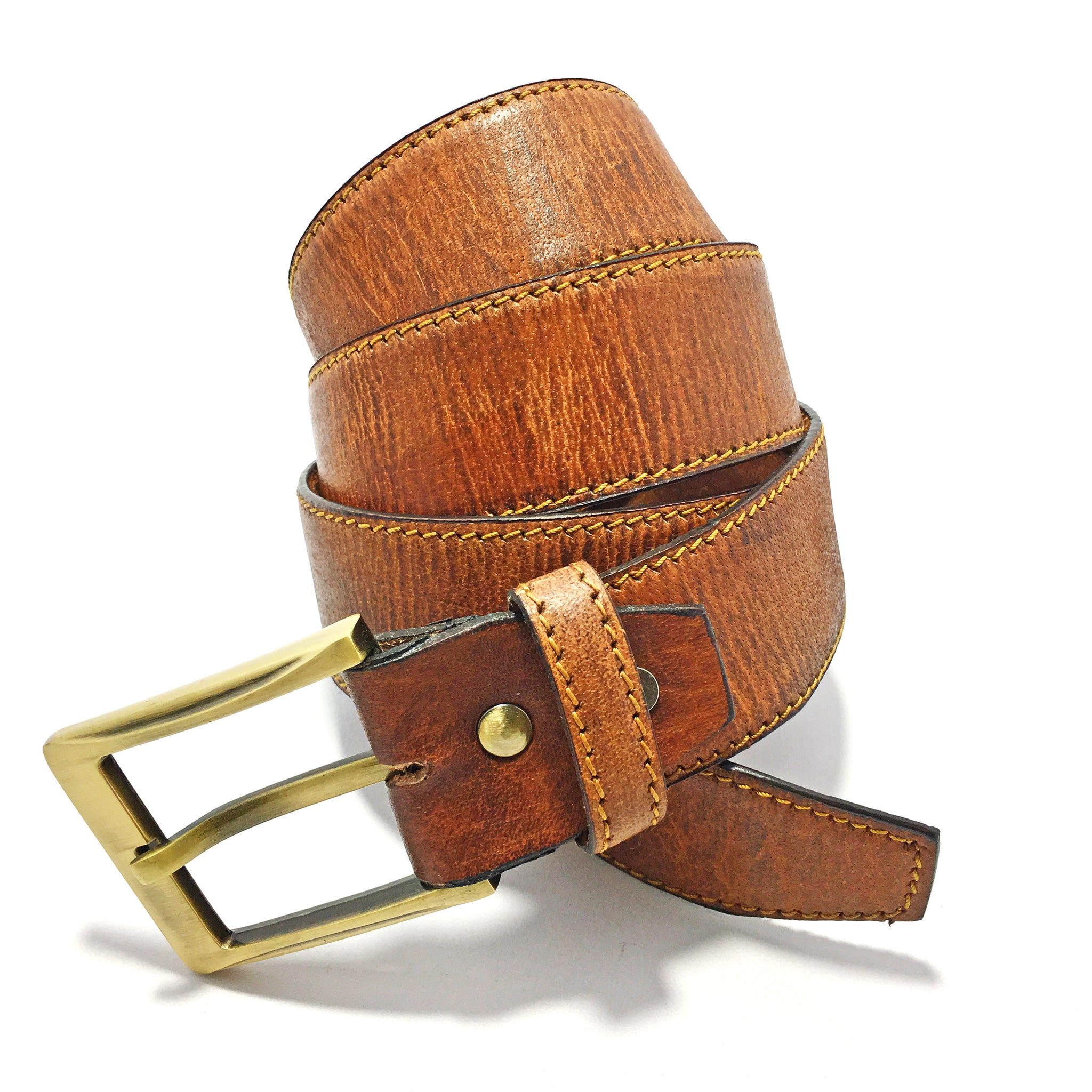 Ficuster Men Brown Textured Leather Belt