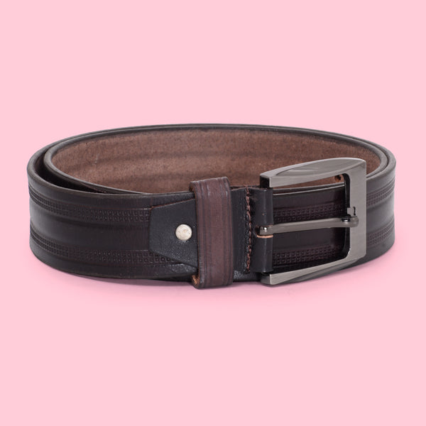 Ficuster Men Glossy Finish Tan Leather Belt
