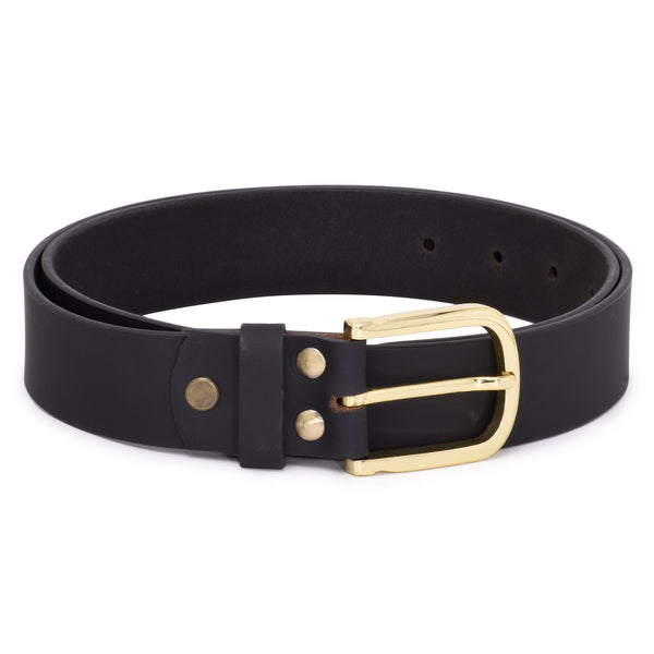 Ficuster Men Black Matte Finish Leather Belt