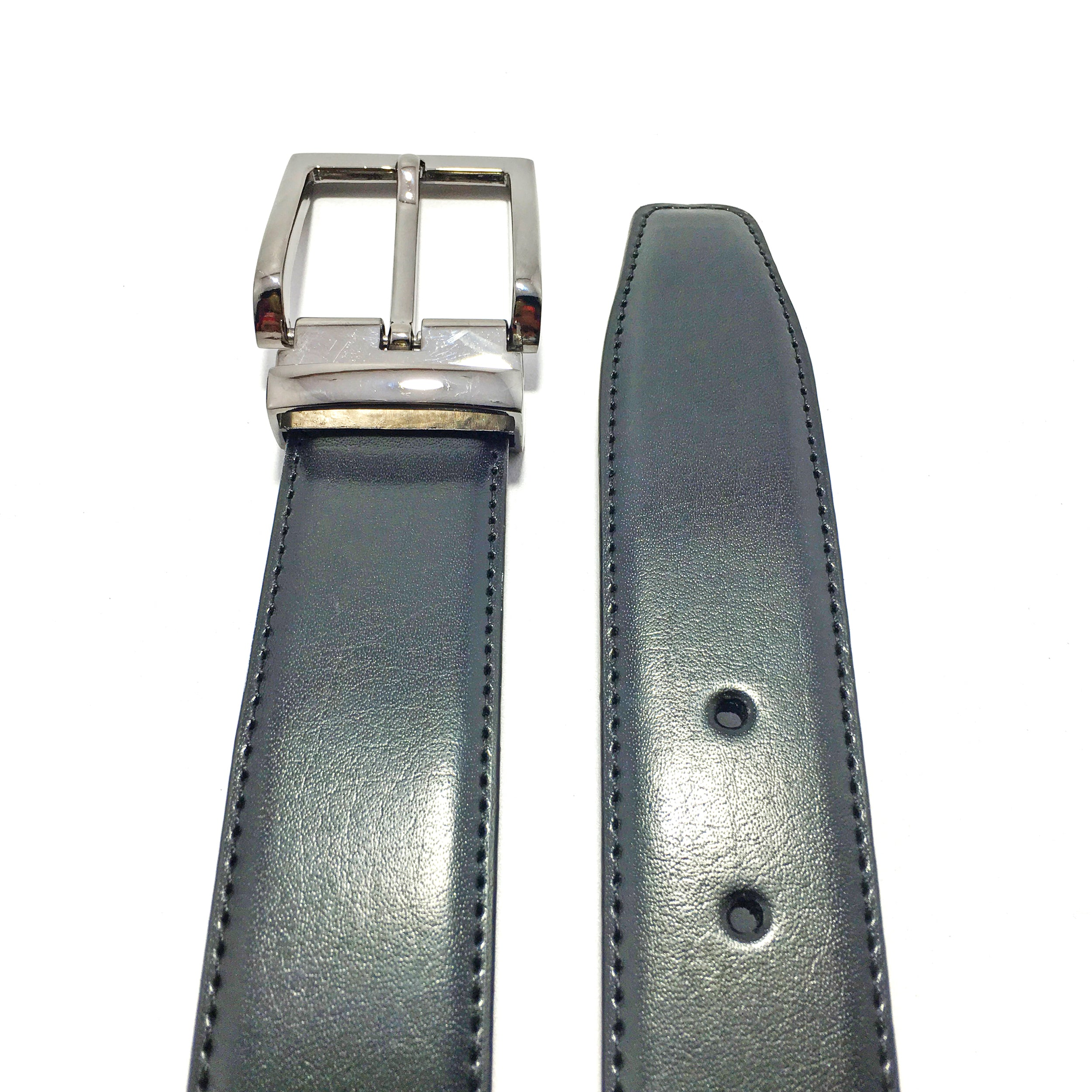 Ficuster Men Black Glossy Finish Leather Belt