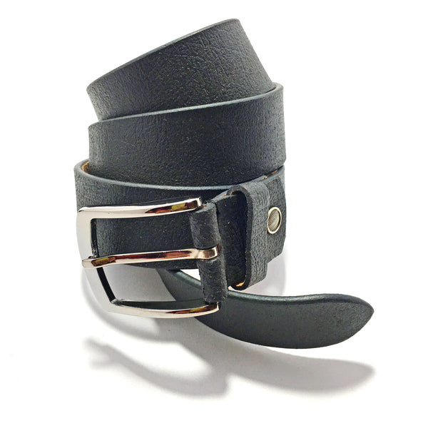 Ficuster Men Black Solid Matte Finish Leather Belt