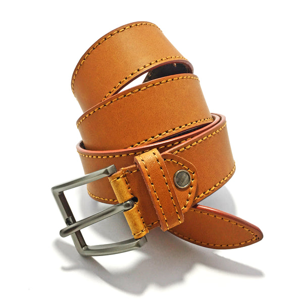 Ficuster Men Brown Matte Finish Genuine Leather Belt