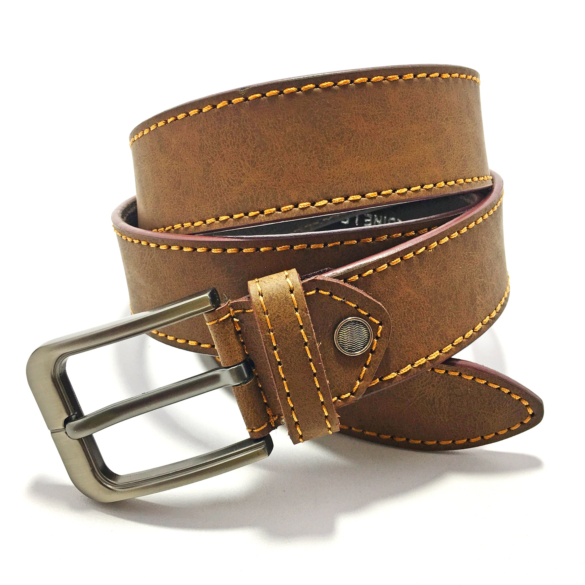 Ficuster Men Tan Matte Finish Genuine Leather Belt
