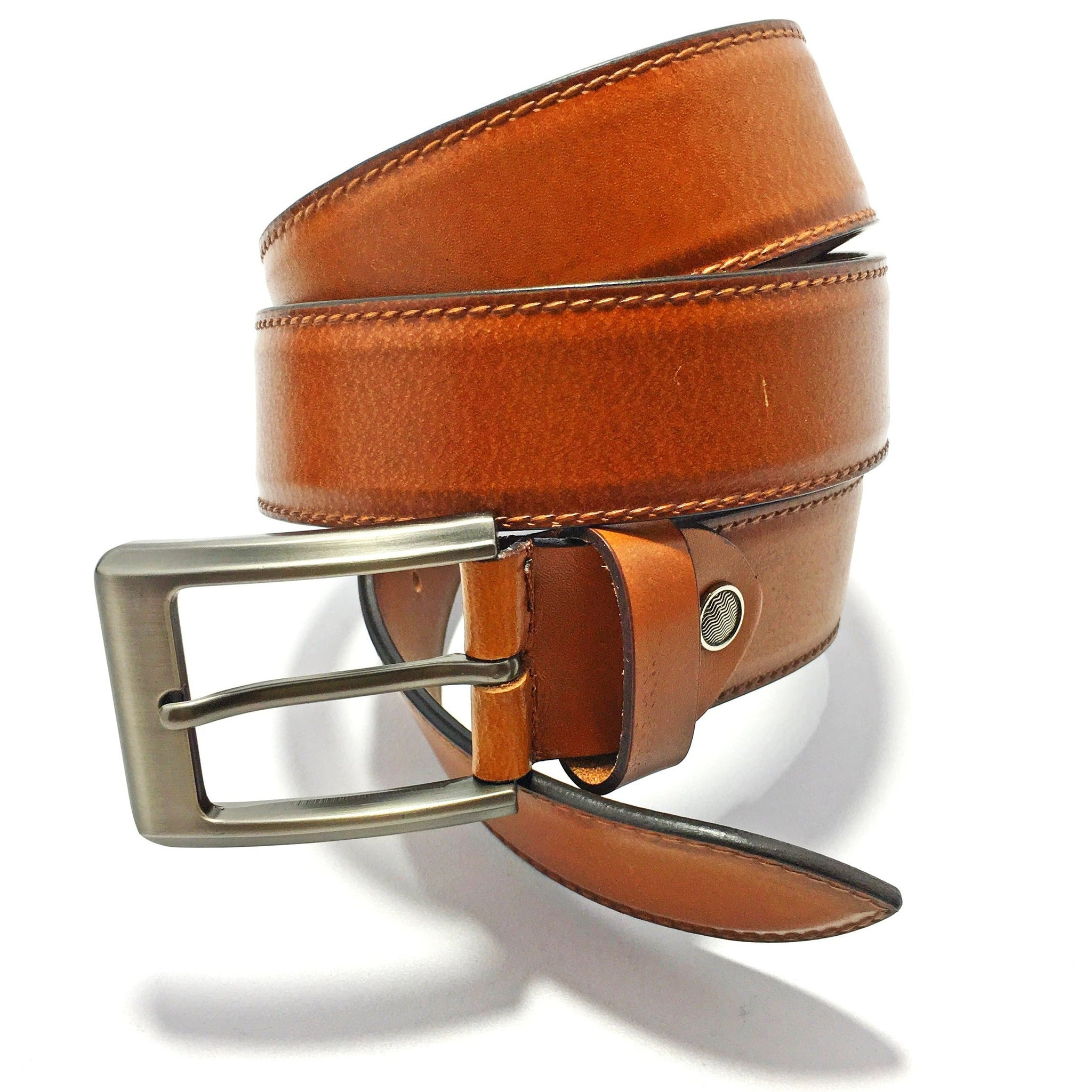Ficuster Men Brown Glossy Finish Genuine Leather Belt