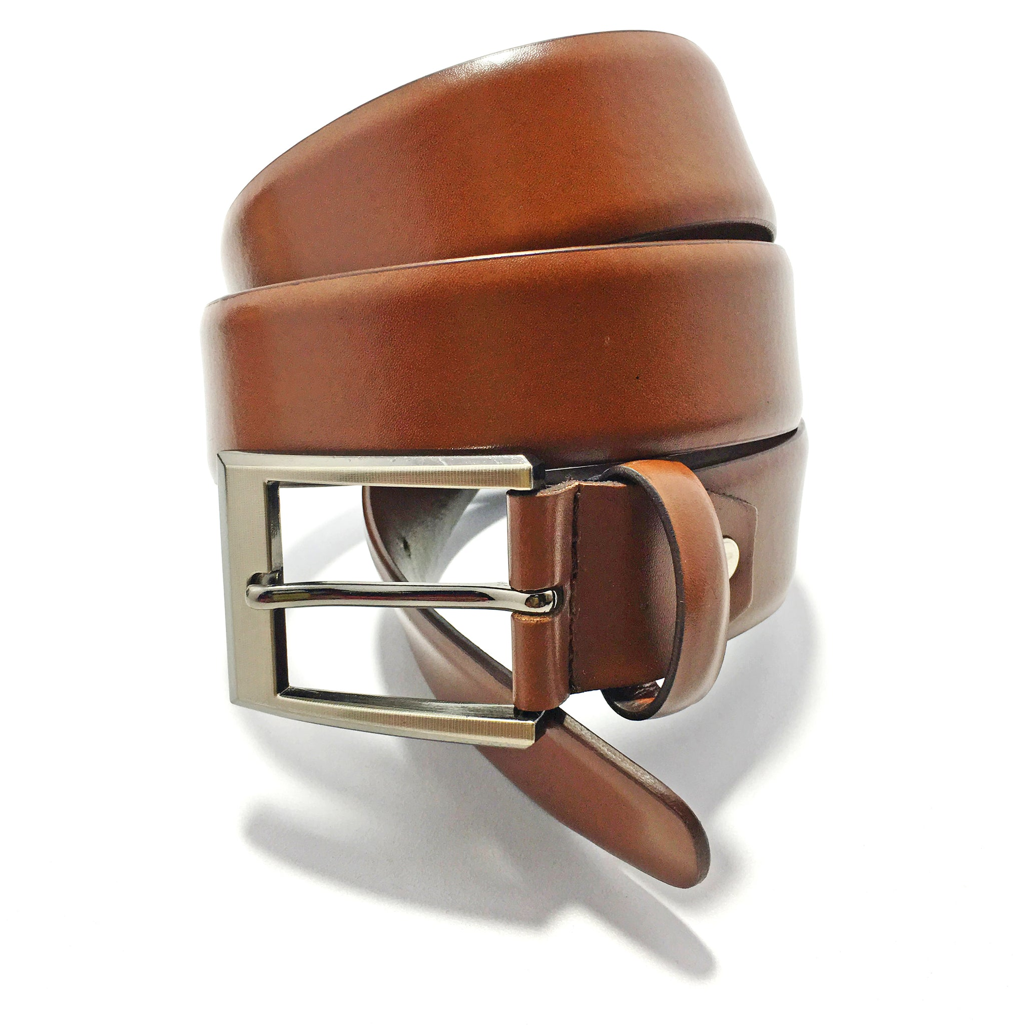 Ficuster Men Tan Glossy Finish Genuine Leather Belt