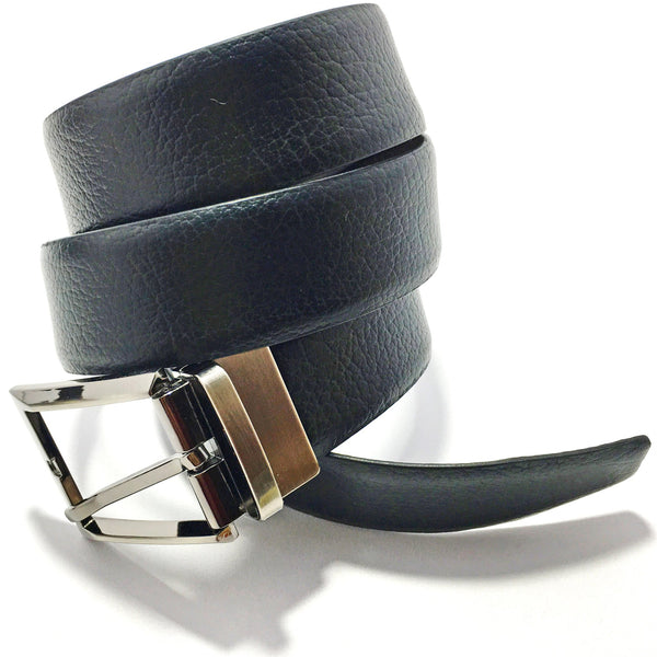 Ficuster Men Black Tan Glossy Finish Genuine Leather Reversible Belt