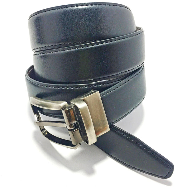 Ficuster Men Black Tan Glossy Finish Genuine PU Belt