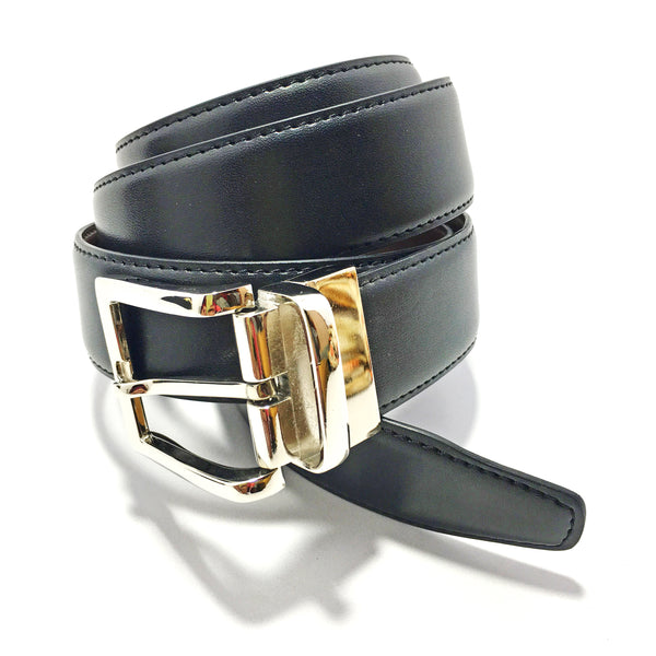 Ficuster Men Black Tan Reversible Glossy Finish PU Belt
