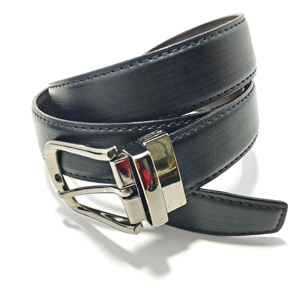 Ficuster Men Black Tan Reversible Glossy Finish Genuine Leather Belt