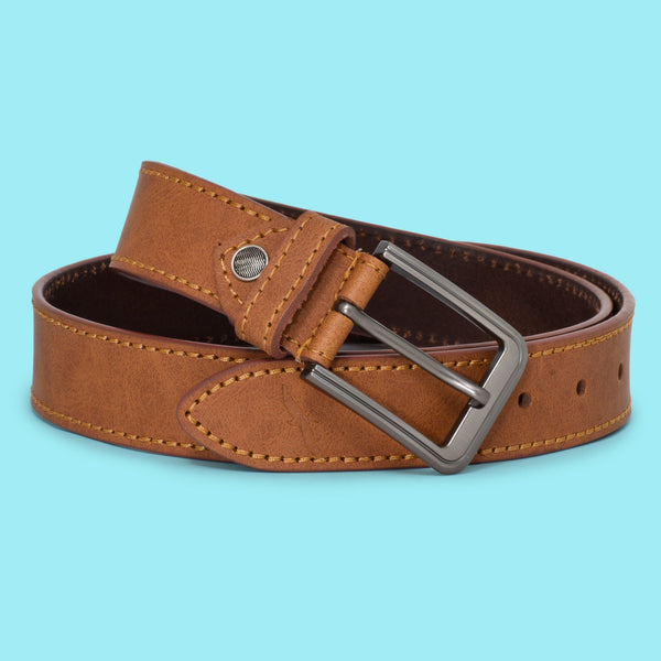 Ficuster Men Matte Finish Tan Color Leather Belt