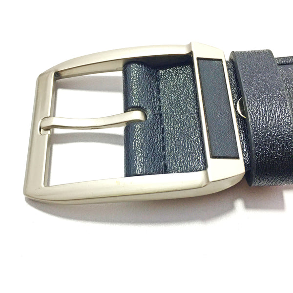 Ficuster Men Black Textured Glossy Finish PU Belt