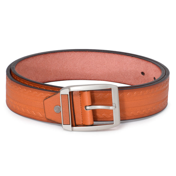 Ficuster Men Brown Textured Glossy Finish PU Belt