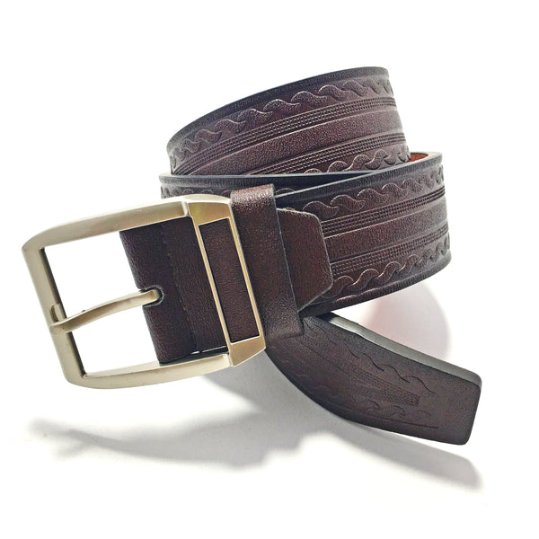 Ficuster Men Dark Brown Textured Glossy Finish PU Belt