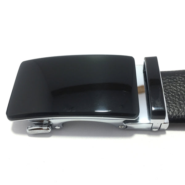 Ficuster Men Black Autolock Metal Buckle PU Leather Belt