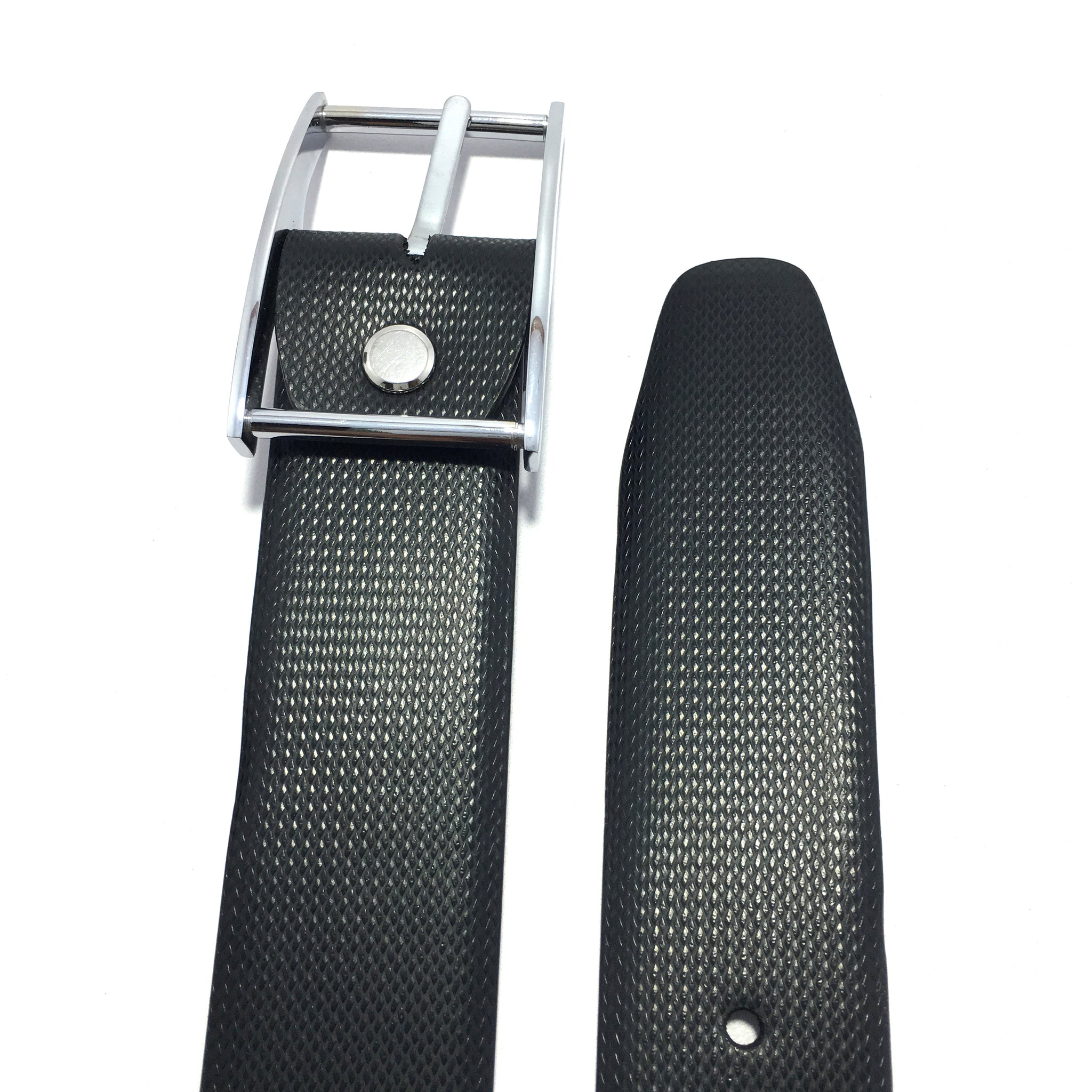 Ficuster Men Pin Hole Metal Buckle Black PU Leather Belt