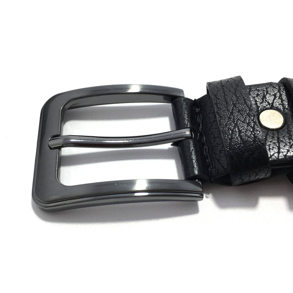 Ficuster Men Black Pin Hole Metal Buckle PU Leather Belt