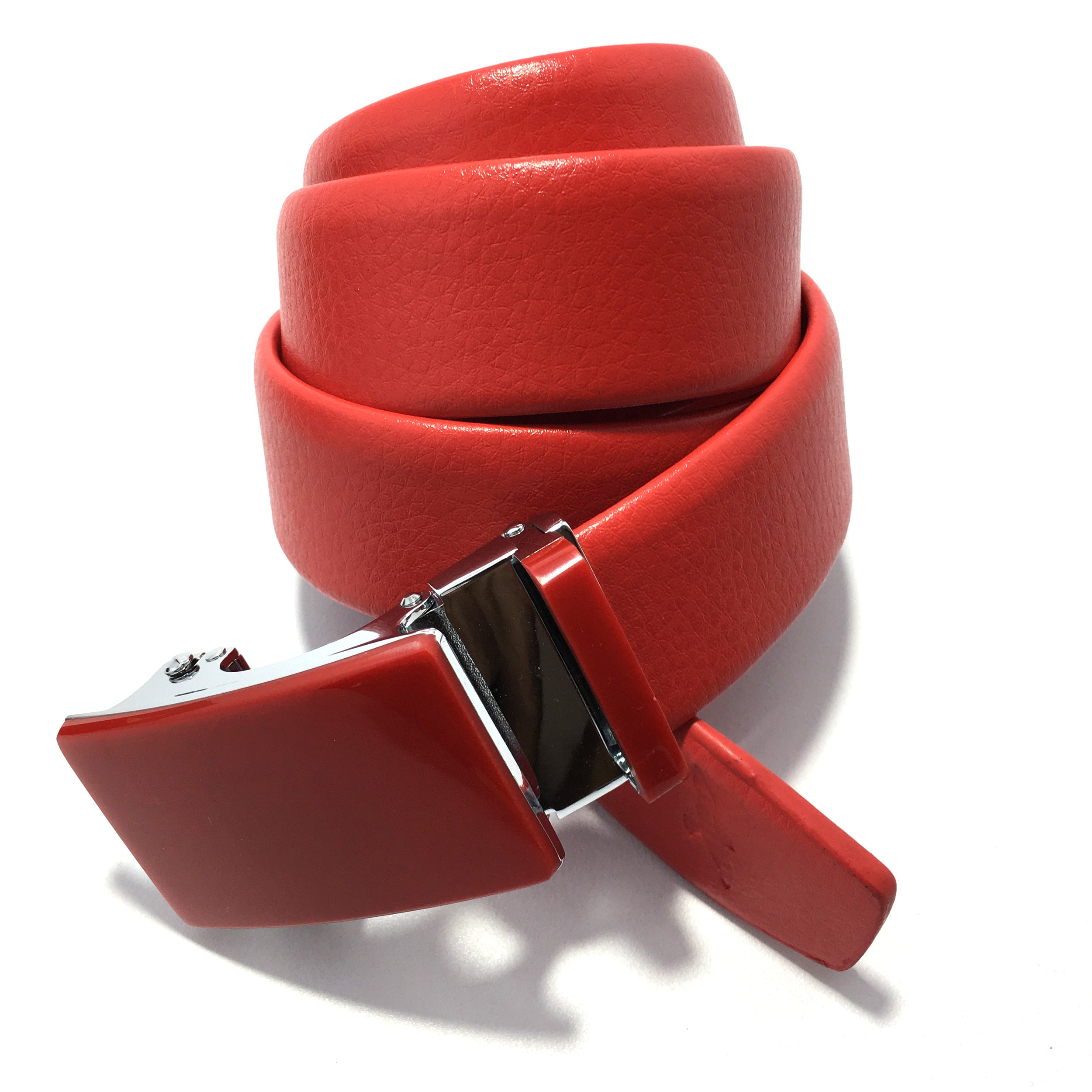 Ficuster Men Red Autolock Metal Buckle PU Leather Belt