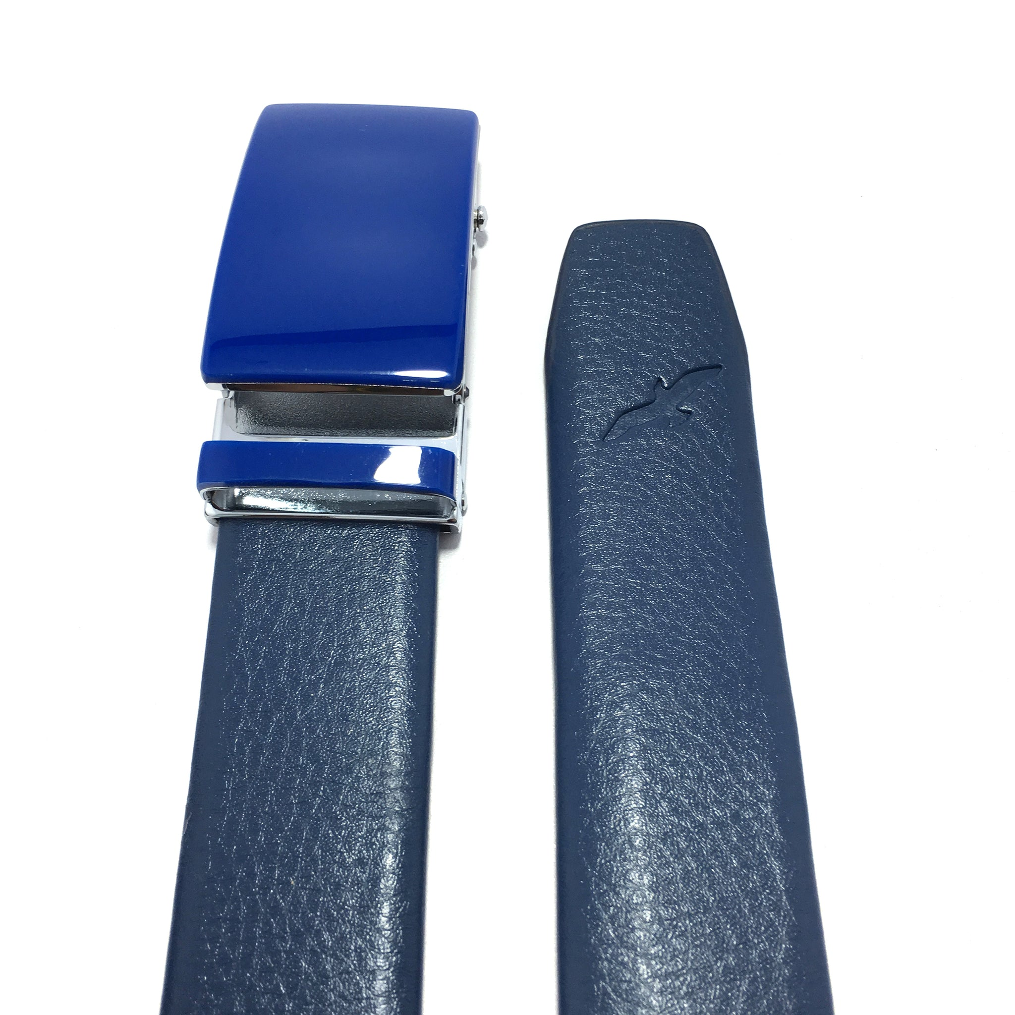 Ficuster Men Blue Autolock Metal Buckle PU Leather Belt
