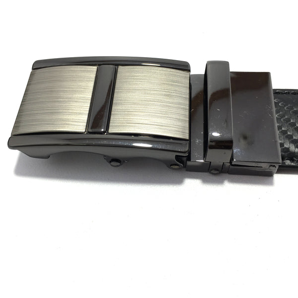 Ficuster Men Autolock Metal Buckle Black Brown Reversible PU Leather Belt
