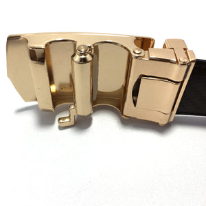 Ficuster Men Autolock Metal Buckle Black Dark Brown Reversible PU Leather Belt