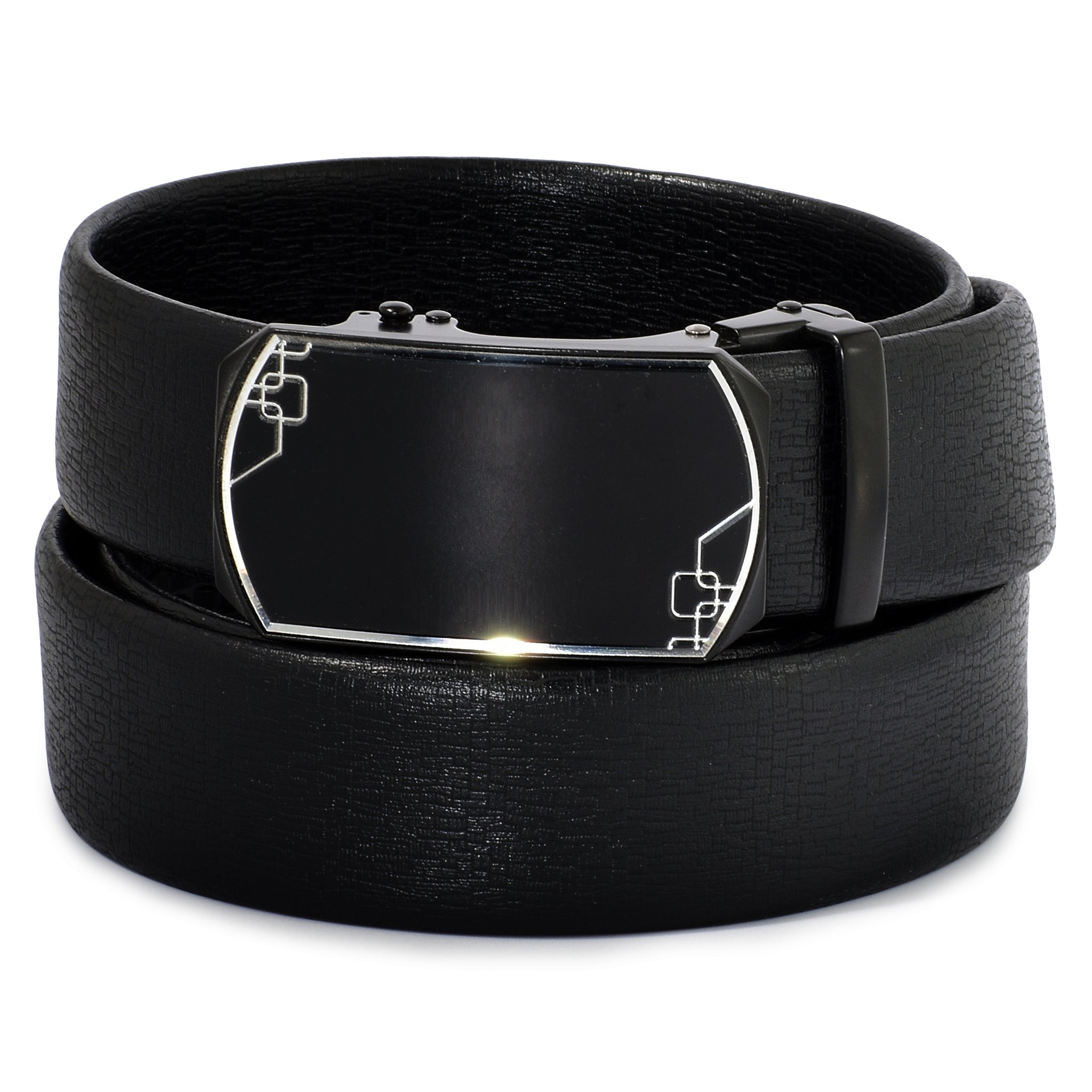 Ficuster Men Autolock Metal Buckle Black Matte Finish Textured PU Leather Belt