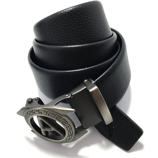 Ficuster Men Autogrip Metal Buckle Black Textured A Letter Vegan Leather Belt