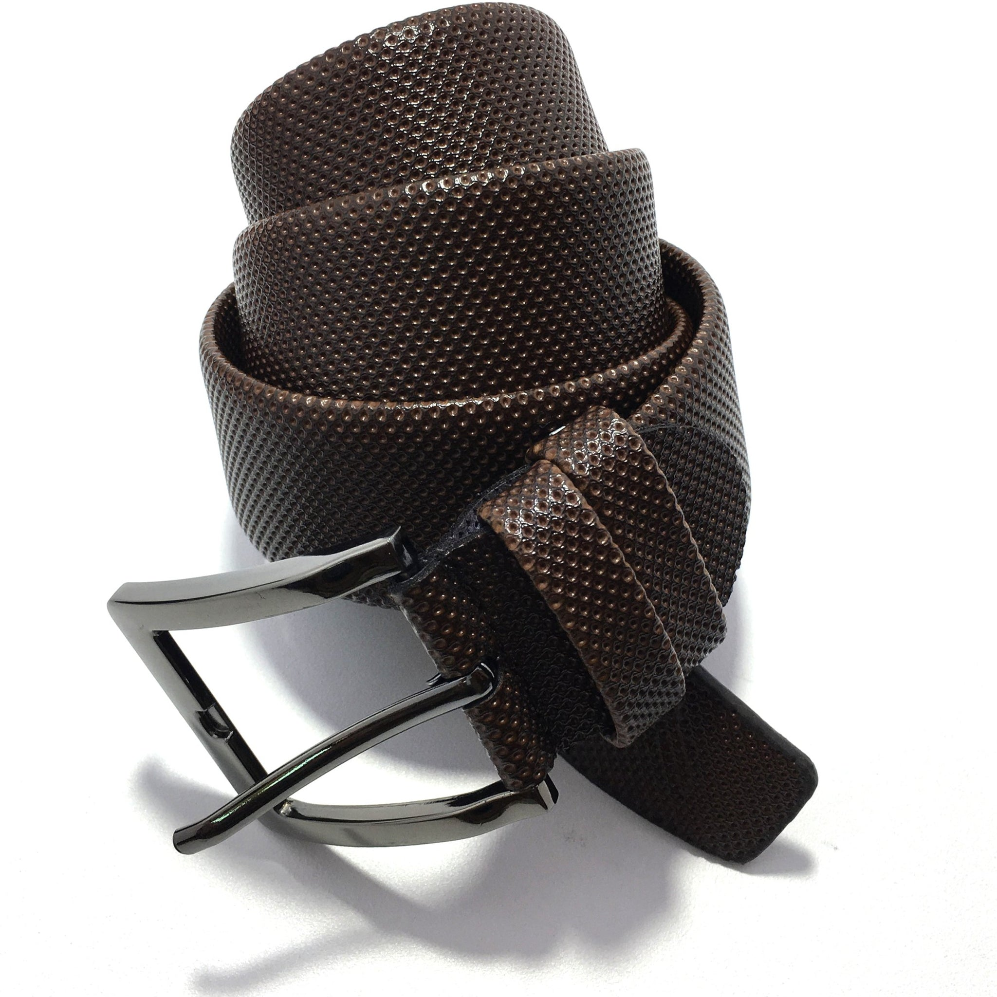 Ficuster Men Dark Brown Pin Hole Metal Buckle PU Leather Belt