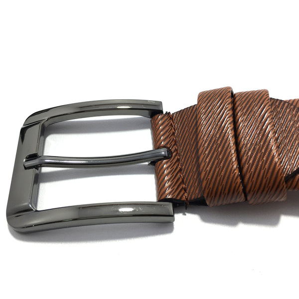 Ficuster Men Brown Pin Hole Metal Buckle PU Leather Belt