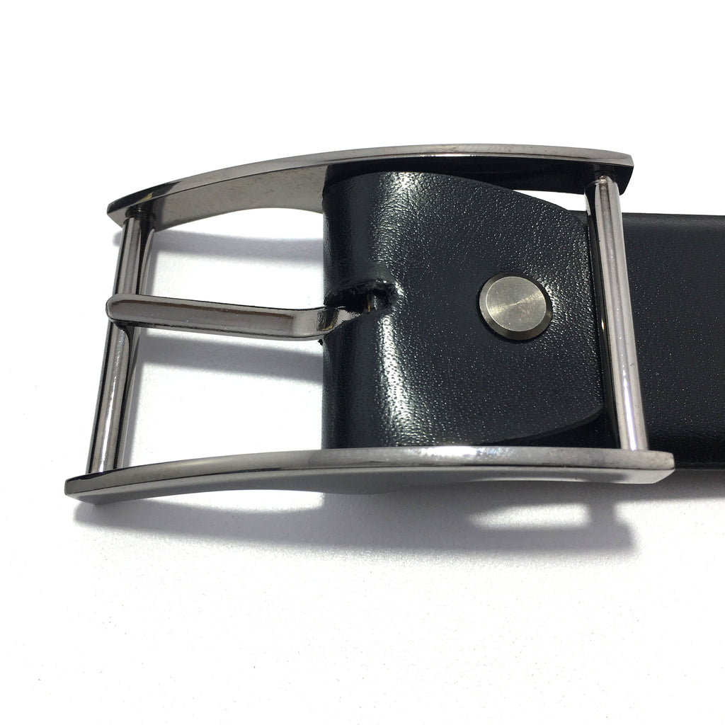 Ficuster Men Pin Hole Metal Buckle Black Glossy PU Leather Belt